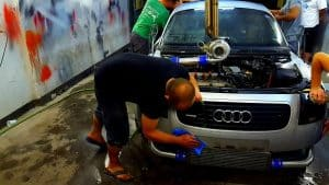 Finishing Touches On Service Of Car