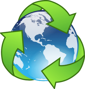 Cartoon of the Earth surrounded by the recycle symbol