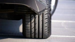 Closeup of tire treads on a car