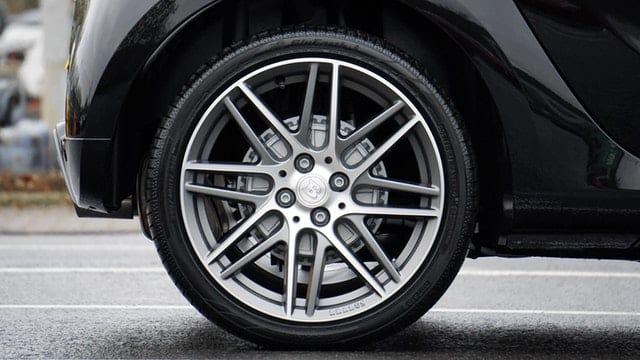 Close up of car tire and rim